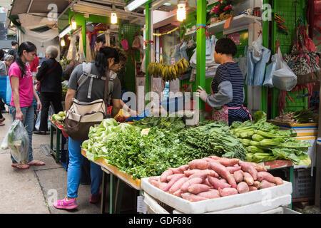 Gage street outdoor produrre mercato, Hong Kong Cina. Foto Stock