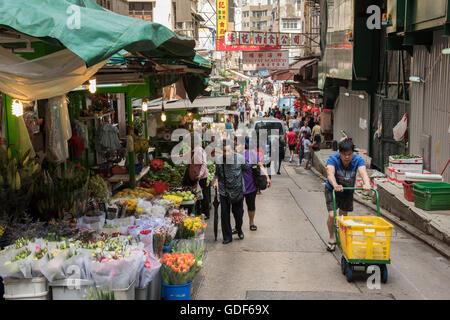 Vista di Gage street mercato all'aperto, Hong Kong Cina. Foto Stock