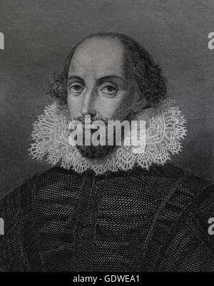 William Shakespeare (1564-1616). Scrittore inglese. Renaissance. Età elisabettiana. Ritratto. Incisione del XIX secolo. Foto Stock