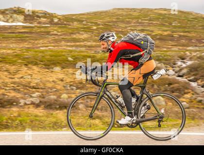 Strada ciclista pedala, route 7 Parco Nazionale di Hardangervidda accanto al lago Orteren, Norvegia Hordaland, Scandinavia, europeo