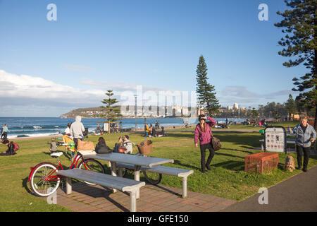 Manly Beach un sobborgo di Sydney su spiagge settentrionali,l'australia Foto Stock