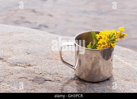 Acciaio inossidabile mug su pietra in prossimità di acqua su sfondo natura Foto Stock