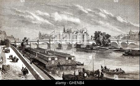 Il Pont Neuf, ponte che attraversa il fiume Senna a Parigi, Francia, del XIX secolo