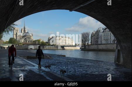 Per chi ama fare jogging in esecuzione sotto il Pont de la Tournelle sulla riva sinistra del fiume Senna, Parigi, Francia
