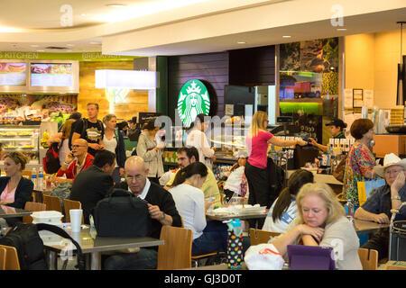 Le persone aventi il caffè in uno Starbucks Cafe, della sala partenze, terminale E George Bush Interconinental aeroporto, Foto Stock