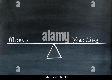 Le parole di denaro e la vostra vita su un altalena o scala in equilibrio disegnato sulla lavagna. Foto Stock