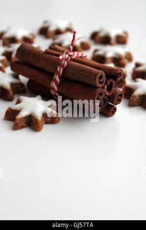 In casa a forma di stella di Natale i cookie di pan di zenzero e cannella Foto Stock