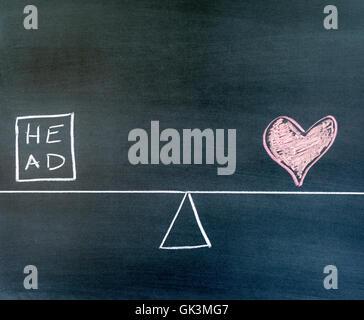 La testa e il cuore simboli disegnati su una lavagna, bilancia in equilibrio. Foto Stock