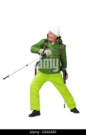 Uomo anziano alpinismo invernale viaggio Foto Stock