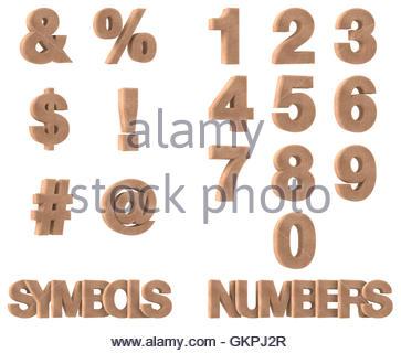 3D Render di pietra, marmo, Rock simboli e numeri, isolati su sfondo bianco Foto Stock
