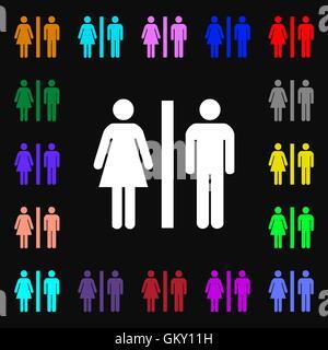 Silhouette di un uomo e di una donna iconi segno. Tanti i simboli colorati per il vostro design. Vettore Foto Stock