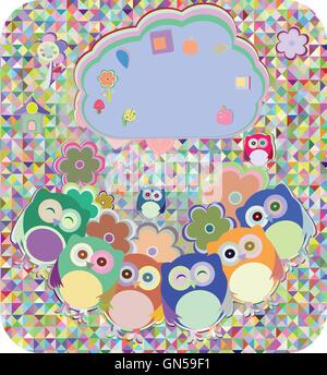 Civette, uccelli, fiori, cloud e di amore del cuore, illustrazione vettoriale Foto Stock