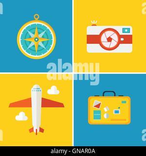 Icone vettoriali e i concetti in stile appartamento - viaggi e vacanze Foto Stock