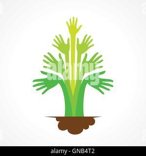 Creative mano verde tree design concept vettore Foto Stock