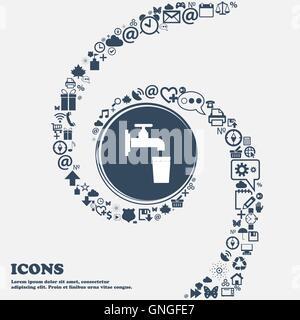 Rubinetto, vetro, acqua segno icona nel centro. Intorno tanti bei simboli intrecciati in una spirale. È possibile Foto Stock