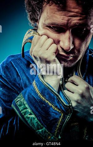 Il principe azzurro, ricco concetto, divertenti immagini di fantasia Foto Stock