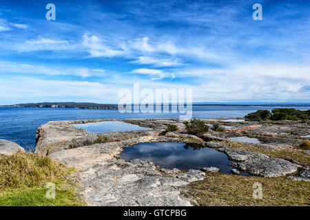 Vista della pittoresca Jervis Bay dal punto perpendicolare, Nuovo Galles del Sud, NSW, Australia Foto Stock
