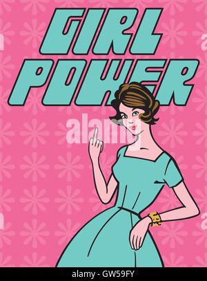 Girl Power Retrò design vettoriali. Classic 1950 casalinga dare il dito per  il mondo. 2d65befa2ce4