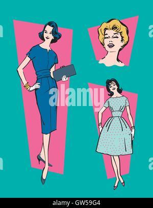 Retrò degli anni cinquanta donne illustrazione vettoriale. In stile vintage  illustrazioni di 3 classic donne 87aa5baf34a8