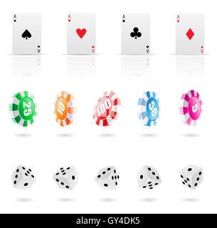 Carte da gioco, roulette chip e plinti icone Foto Stock