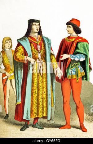 I dati italiani rappresentati data di D.C. 1400. Essi sono, da sinistra a destra: un fiorentino, un uomo di rango Foto Stock