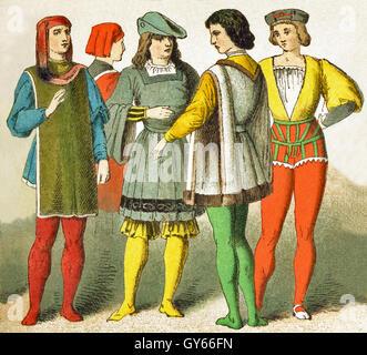 I dati italiani rappresentati data di D.C. 1400. Essi sono, da sinistra a destra: un veneziano, due fiorentini, Foto Stock