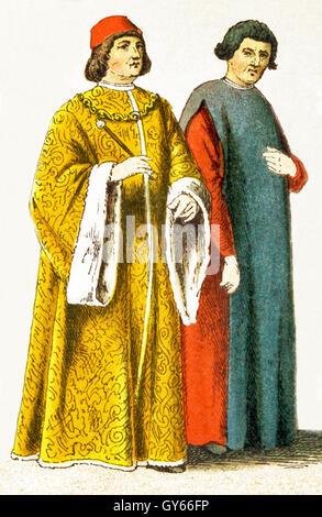 I dati italiani rappresentati data di D.C. 1400. Essi sono, da sinistra a destra: un magistrato italiano, studioso, Foto Stock
