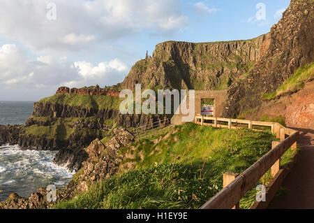 Giant's Causeway a piedi percorso chiuso, Bushmills, County Antrim, Irlanda del Nord, Regno Unito Foto Stock