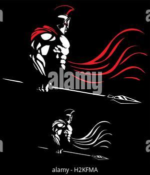 Illustrazione del guerriero spartano su sfondo nero in 2 versioni di colore. Foto Stock
