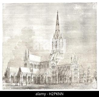 """La Cattedrale di Salisbury - da 'Cassell illustrato della storia universale"""" - 1882"""