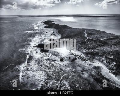 Vista aerea della punta della Penisola di Mornington. Immagine in bianco e nero. Melbourne, Victoria, Australia Foto Stock