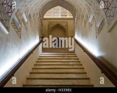 Scalinata, Castello di Jabrin, Jabreen, Bahlat, Ad Dakhiliyah, Oman Foto Stock