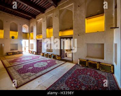 Tappeti in castello di Jabrin, Jabreen, Bahlat, Ad Dakhiliyah, Oman Foto Stock