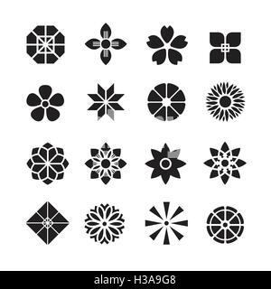 Fiori ornamento icona,set di vettore