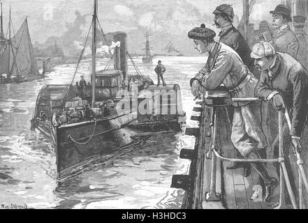 Navi uomini, uragano-deck guardando la barca 1883. Illustrated London News Foto Stock