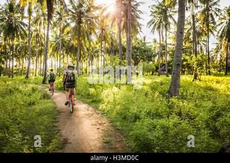 Vista posteriore di due giovani donne in bicicletta nel palm tree forest, Gili Meno, Lombok, Indonesia Foto Stock