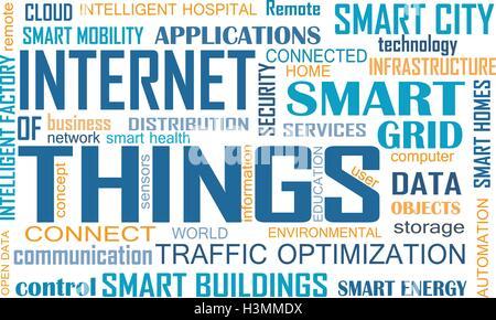 Internet delle cose (IOT) parola concetto di cloud computing. Nuvola di parole rilevanti che illustra Internet delle Foto Stock