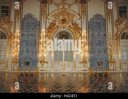 La Russia, vicino a San Pietroburgo e Pushkin, Katharinenpalast, hall Eurasia, Europa, Est Europa, Rossiskaja Federazija, Foto Stock
