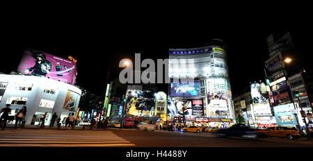 Street, edificio, pubblicità, luci, notte, Taipeh, Taiwan Foto Stock