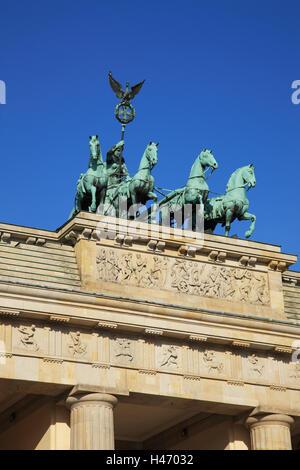 Germania, Berlino, la Porta di Brandeburgo, la quadriga, Foto Stock