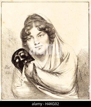Il barone Dominique Vivant Denon, francese (1747-1825), la ragazza con una maschera, 1820, litografia Foto Stock