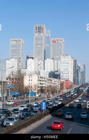 Skyline di Central Business District , CBD, al centro di Pechino CINA Foto Stock