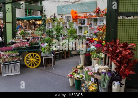 Pressione di stallo di fiori nel mercato di Borough, Londra Foto Stock