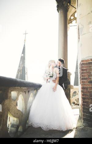 Kissing sposi in soggiorno nel bellissimo paesaggio Foto Stock
