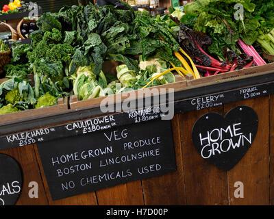 TEDS Veg Stall Cauliflower Kale Chard prodotti agricoli coltivati in casa britannica in esposizione al Borough Market Southwark London UK