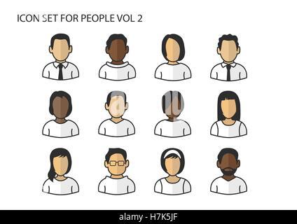 Diverse icone vettoriali / simboli di avatar teste e facce con diversi colori di pelle per gli uomini e per le donne Foto Stock
