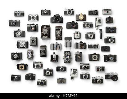 Raccolta di vecchio analogico diverso della fotocamera su sfondo bianco Foto Stock