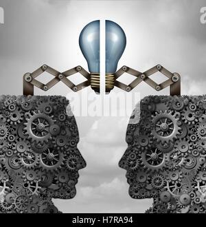 Concetto di creatività e di partnership creativa cooperazione di gruppo come un mazzetto di ingranaggi e ruote dentate Foto Stock