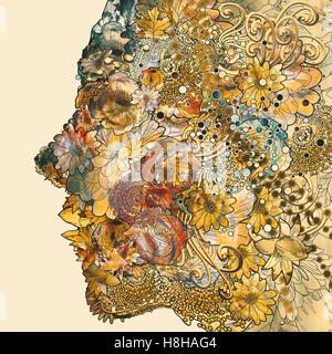 Un sacco di fiori colorati formando una donna faccia,illustrazione floreale dipinto