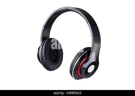 ... Wireless nero cuffie vista 3 4 isolato su sfondo bianco Foto Stock 2fb2c1fad57e